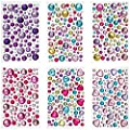 Peachy Keen Crafts - Self Adhesive Jewels - 6 Sheets of Rhinestone Sticker Gems - Multicolor Gemstone Embellishments - Perfect for Valentine's Day Crafts