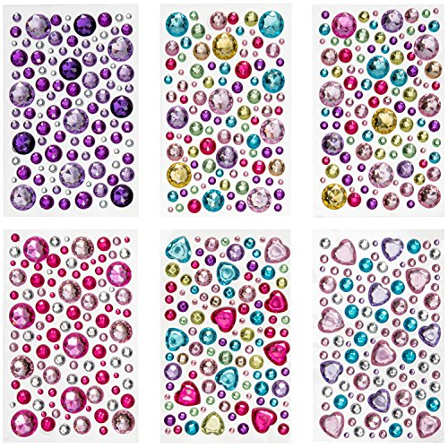 Peachy Keen Crafts 6 Sheets Self Adhesive Jewels - Rhinestone Sticker Gems - Multi Color Gemstone Embellishments