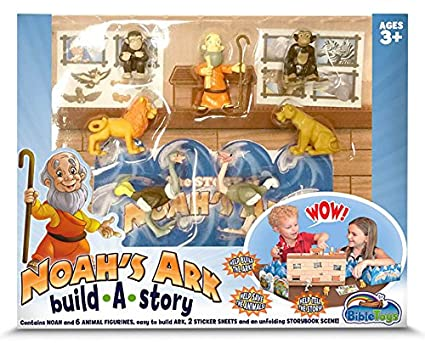 Noah's Ark Build A Story by BibleToys  Children's Playset with Noah and 6  Animals, Storybook, Sticker Sheet and Unfolding Ark