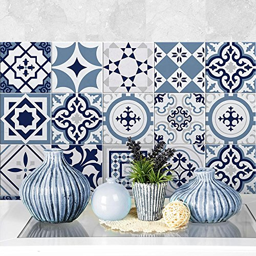 24 tile adhesives 5,91×5,91 inches – PS00099 – Blue Fes – Decorative tile adhesive for bathroom and kitchen Tile…