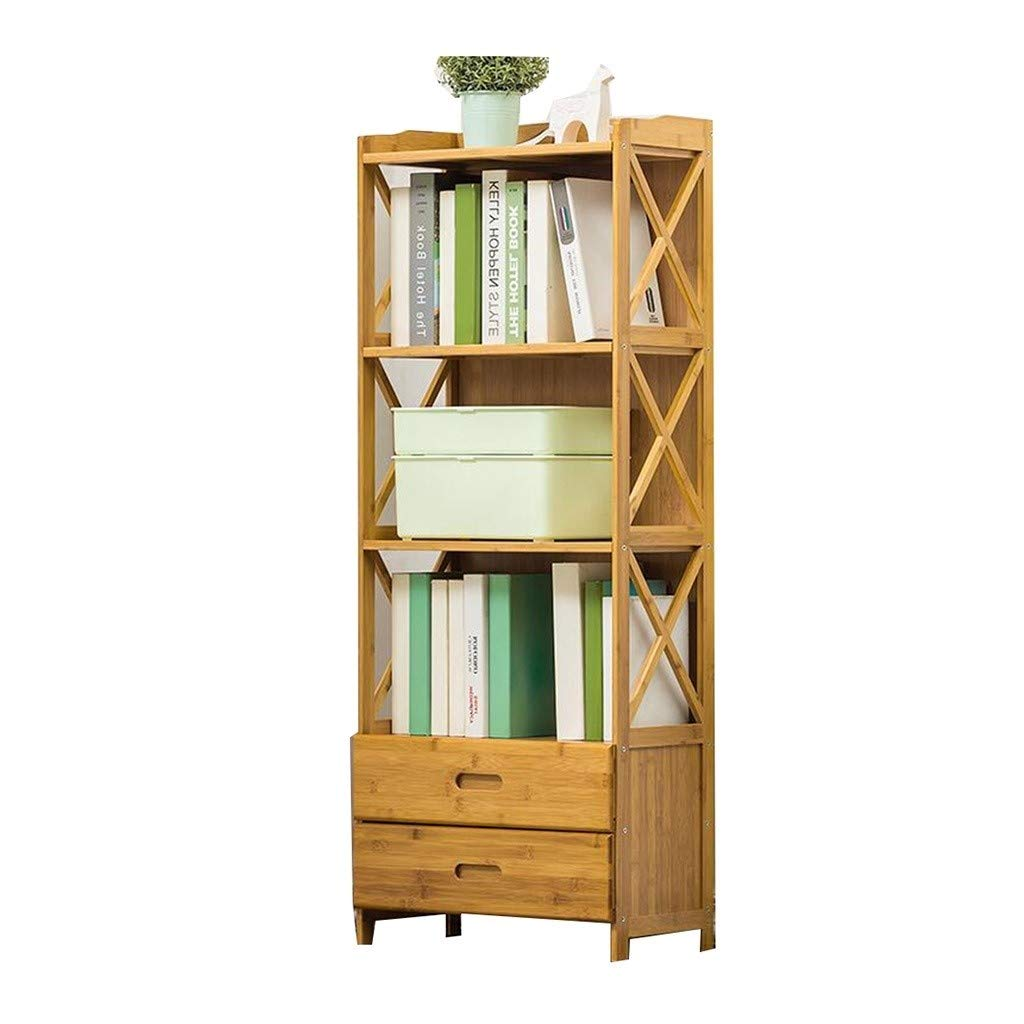 Book Racks Bookcase Drawer Bookcase Living Room Solid Wood Multi-Layer Storage Shelf Floor Rack Bookends (Color : Brown, Size : 5030127cm) by Bookcases, Cabinets & Shelves