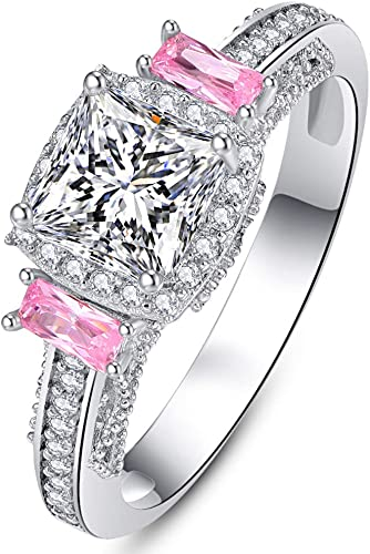 3 Ct Cushion Cut Pink Sapphire Halo Ring Women Wedding Anniversary Size 5 6 7 8