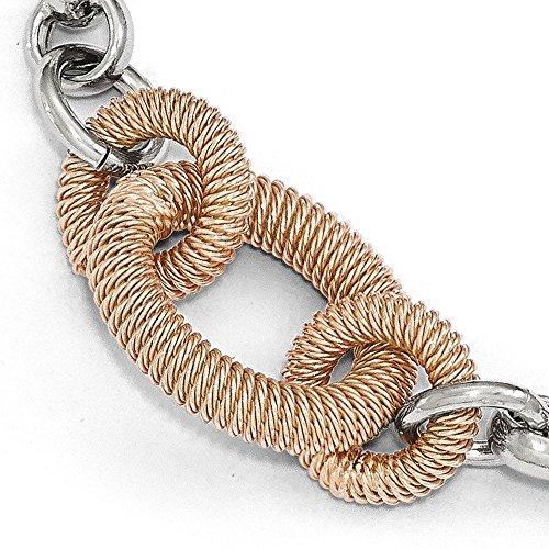 Argent sterling Rose-Tone poli et texturé Bracelet Lien-20cm