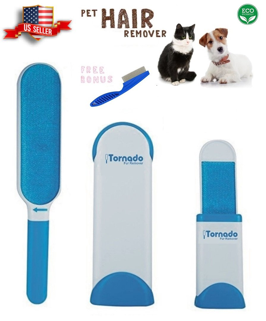 Tornado Lint Brush - Pet Fur Hair Remover Animal Hair Removal Tool Reusable Self Cleaning for Clothing, Furniture Couch, Carpet, with Self-Cleaning Base Double-Sided Brush Removes Dog & Cat Hair