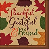 """amscan Autumn Traditions Thanksgiving Party Paper Luncheon Napkins Tableware, 6"""" x 6"""" Pack of 36"""