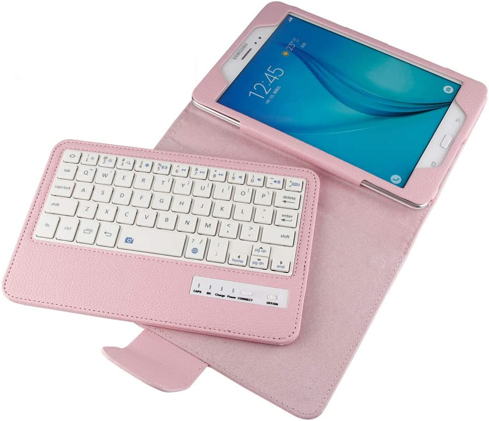 Samsung Galaxy Tab A 8.0 SM-T380 T385 Tablet Keyboard Leather Case, Folio PU Case Bluetooth Built-in Stand Removable Keyboard Case Cover with Auto Sleep/Wake for 2017 Model T380 T385 (Pink)