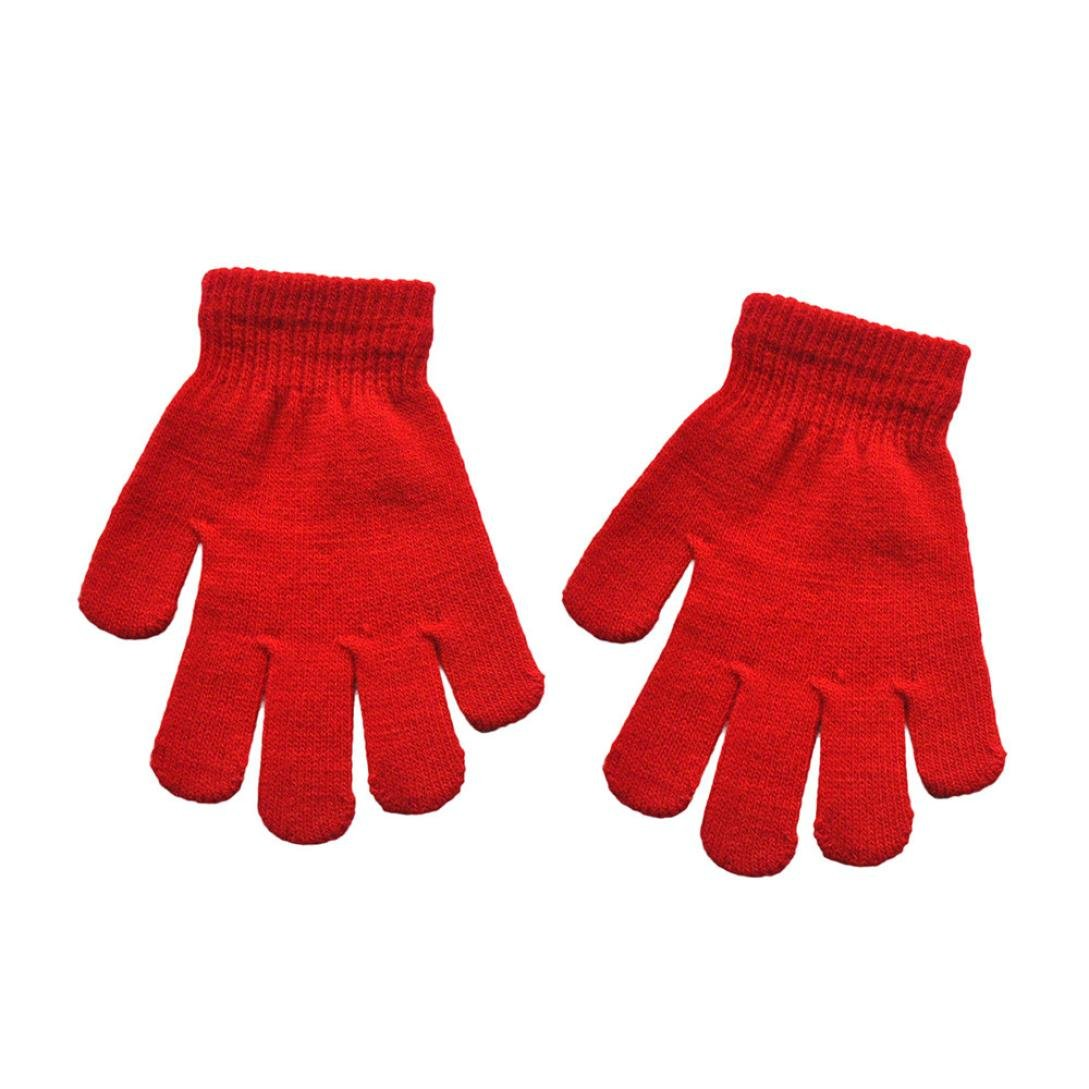 LandFox Infant Baby Cute Solid Print Winter Warm Gloves Red
