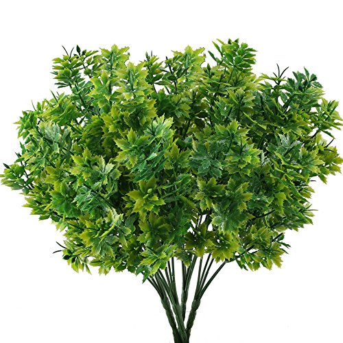 GTIDEA 4PCS Artificial Fake Plants Faux Plastic Shrubs Bundles Greenery Maple leaves Bushes Winter Indoor Outdoor Home Garden Wedding Table Centerpieces Arrangements Christmas Decorations (Fake Christmas Greenery)