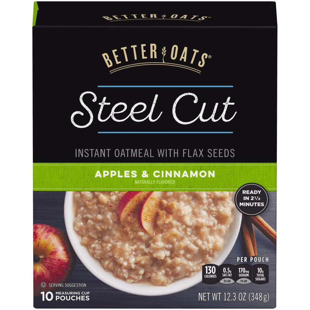 Better Oats Steel Cut Insant Oatmeal with Flax Seeds, Apples and Cinnamon, 12.3 Ounce (Pack of 6)