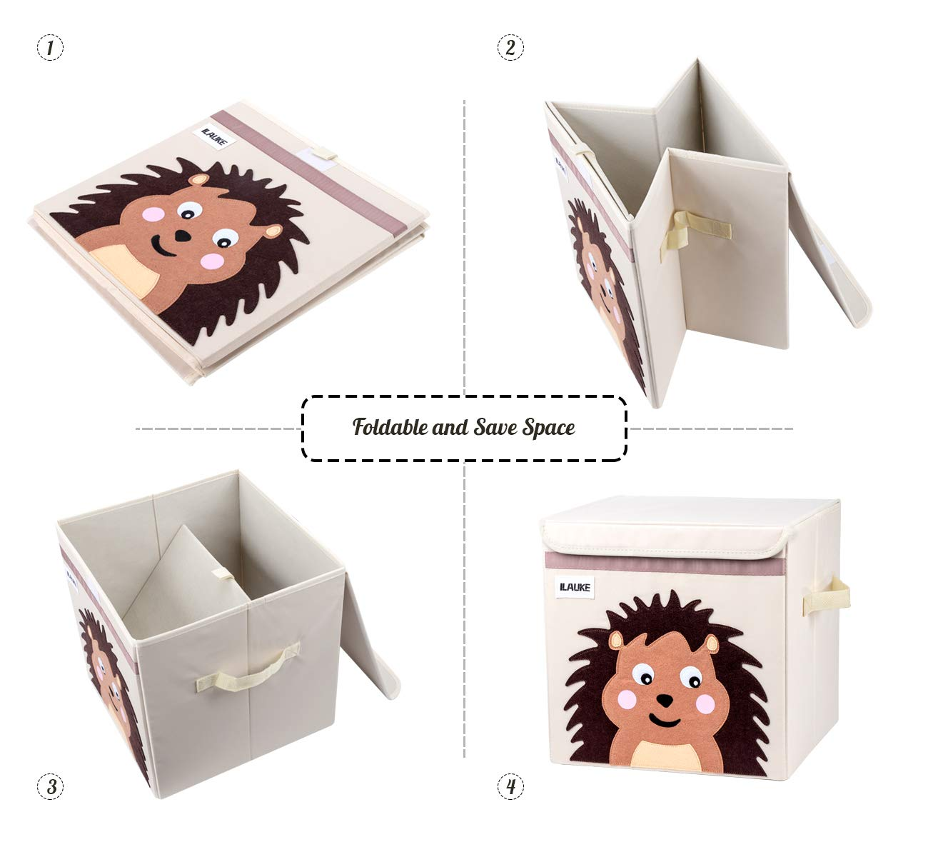 Hedgehog Kids Playroom Lemonfilter Kids Cube Storage Box with Lid Children/'s Room Foldable Fabric Storage Cube Bins Boxes Organizer for Living Room
