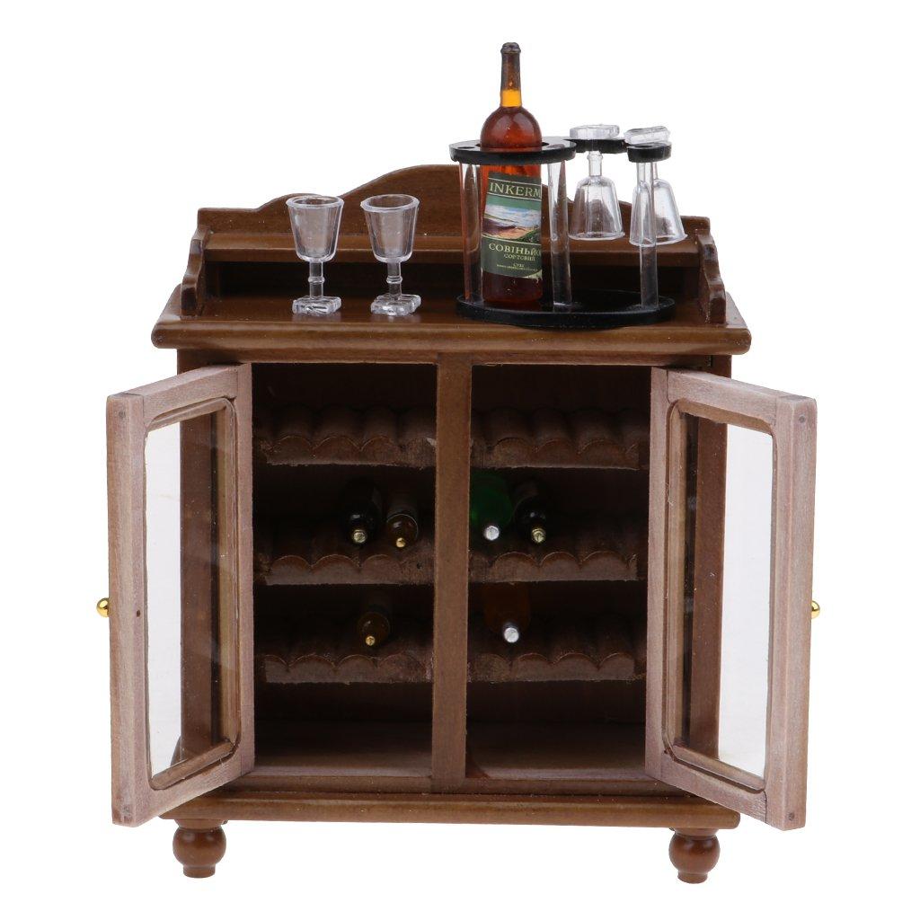 KESOTO Gabinete de Vino Miniatura Botellero y Botellas de Bebidas ...