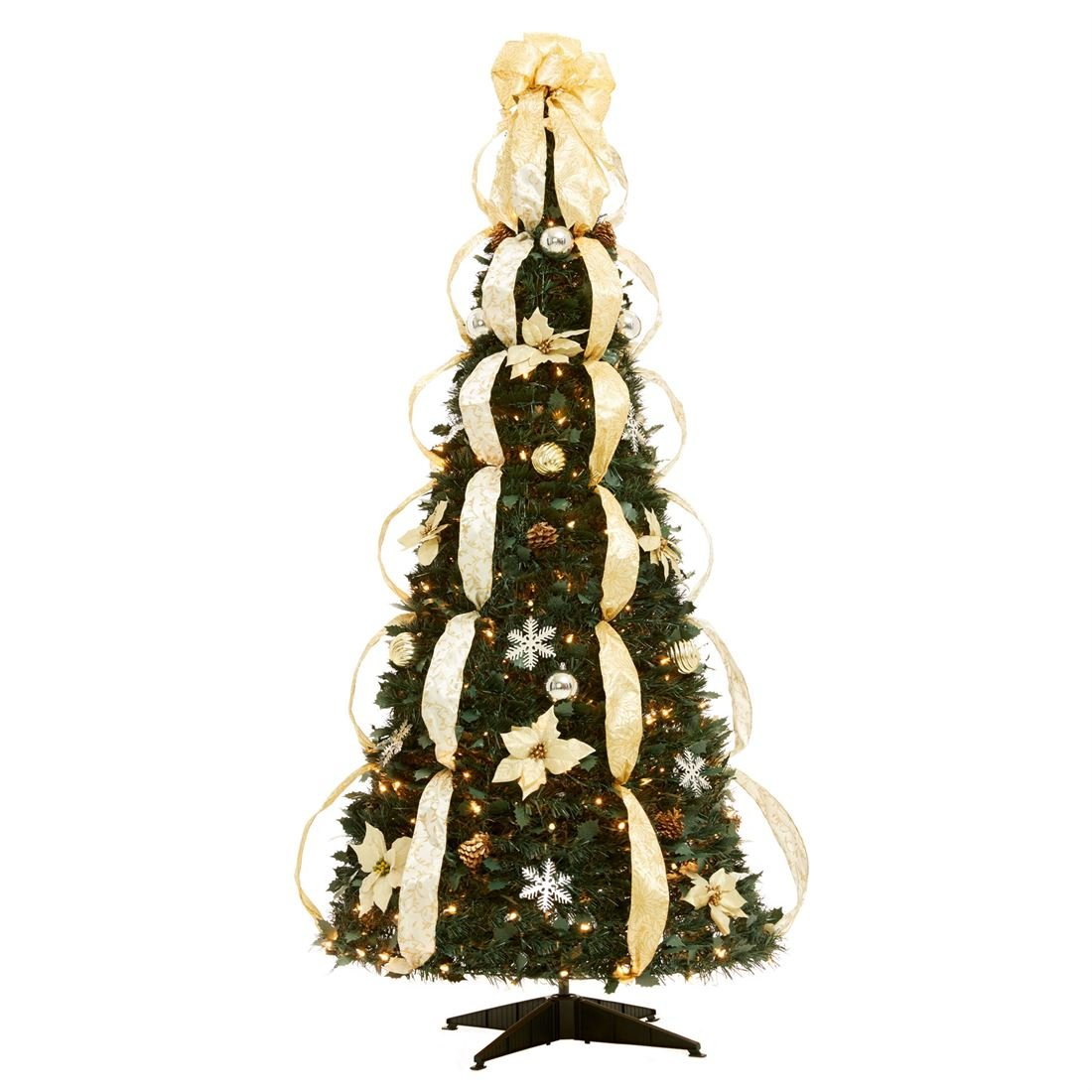 BrylaneHome Flat-To-Fabulous Fully Decorated, Pre-Lit 6-Ft. Christmas Tree (Silver Gold,0)