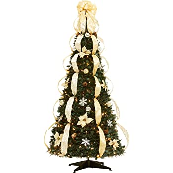 brylanehome flat to fabulous fully decorated pre lit 6 ft christmas tree silver gold0