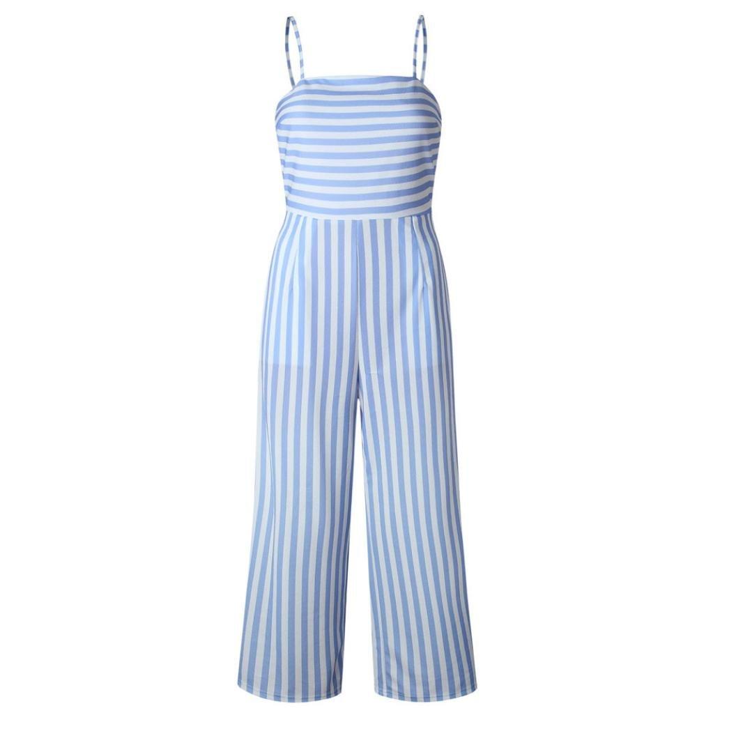 Cuekondy Women Ladies Summer Casual Stripe Long Pants Jumpsuit Sleeveless Backless Bowknot Romper Party Playsuit