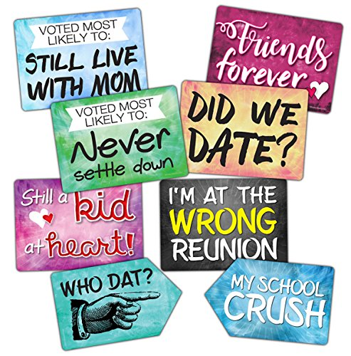 Plastic Photo Booth Prop Signs - Set of 8 Phrases - REUNION Mix - High School or College Class Reunions]()