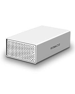 "Yottamaster Aluminum Alloy 3.5"" USB3.0 2 Bay External Hard Drive Enclosure for 3.5 Inch SATA HDD Support 2 x 10TB & UASP -Silver"
