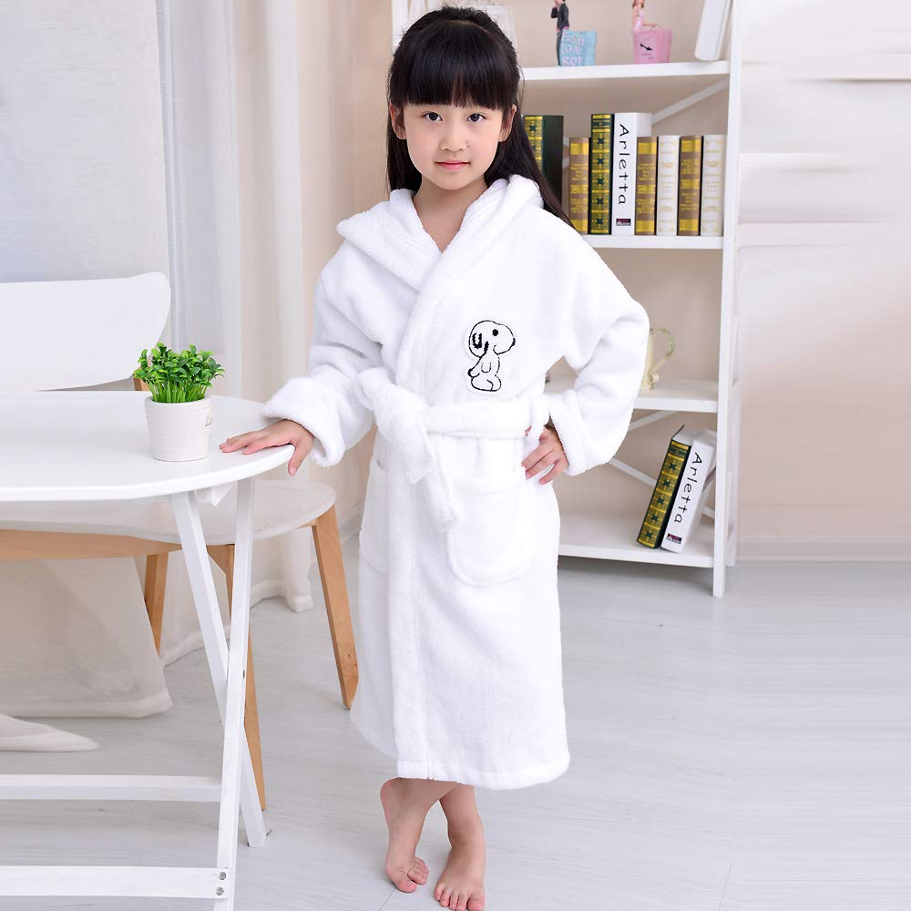 Bathrobe Cotton Towel Material Children's, Boy and Girl Quality Terry Cloth, Toddlers Hooded Home Robes 3-13 Years Old by Bathrobe