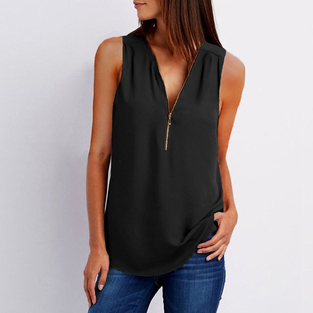 Women's Zipper Tank Tops, Gogoodgo Ladies Loose V-Neck Chiffon Tops Solid Color Sleeveless Skin-Friendly Blouse Black by Gogoodgo vest (Image #2)