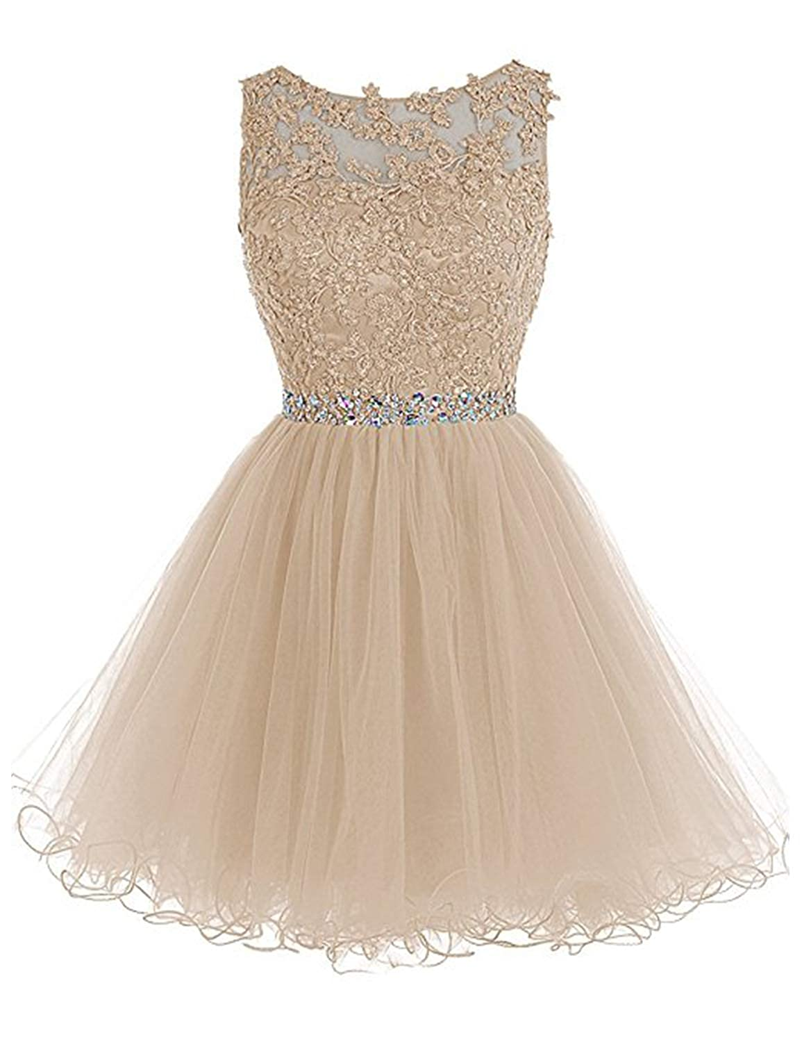 0 Champagne Vimans Women's Short Tulle Homecoming Dresses 2018 Knee Length Lace Prom Gowns Dress448
