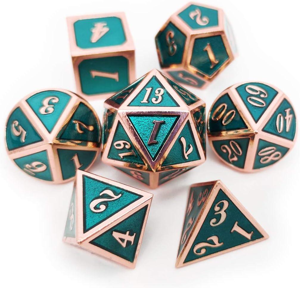Haxtec Dados de Metal D&D D20 D12 D10 D8 D6 D4 para Dungeons and Dragons DND RPG MTG Juegos de Mesa - Dados esmaltados Brillantes, Copper Teal