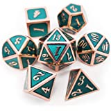 Haxtec Metal Dice Set D&D Copper Teal DND Dice for Dungeons and Dragons Games-Glossy Enamel Dice Copper Teal