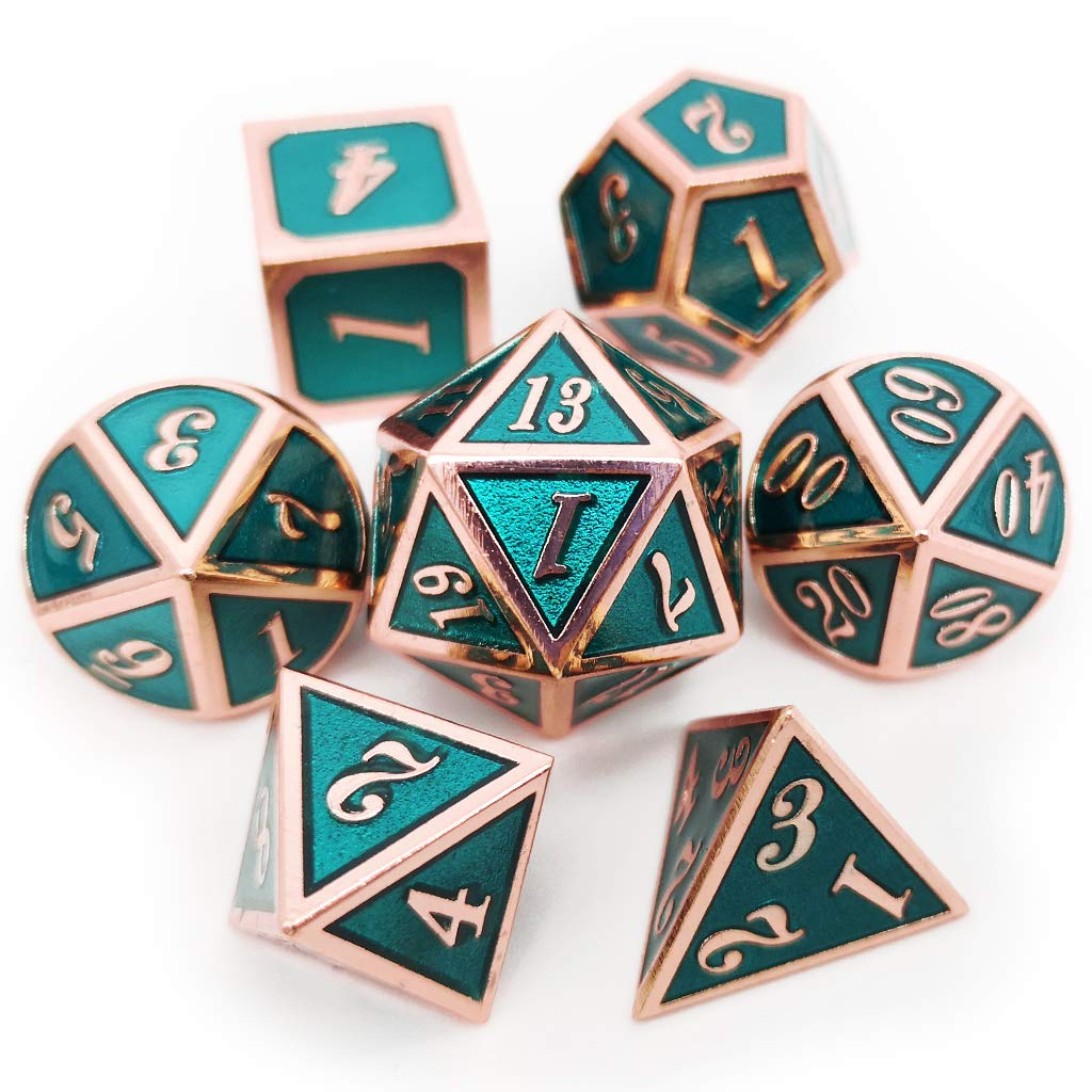 Haxtec 7PCS Metal Dice Set Copper Teal DND Dice for Dungeons and Dragons Games-Glossy Enamel Dice Copper Teal
