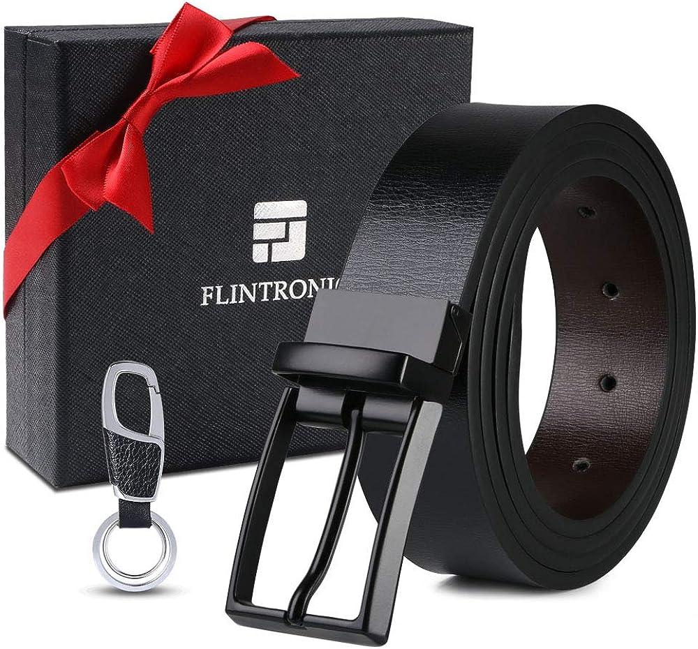flintronic Cinturón Cuero Hombre, 125cm Cinturón con Reversible Correa de Hebilla de Pin, con Llavero y Caja de Regalo