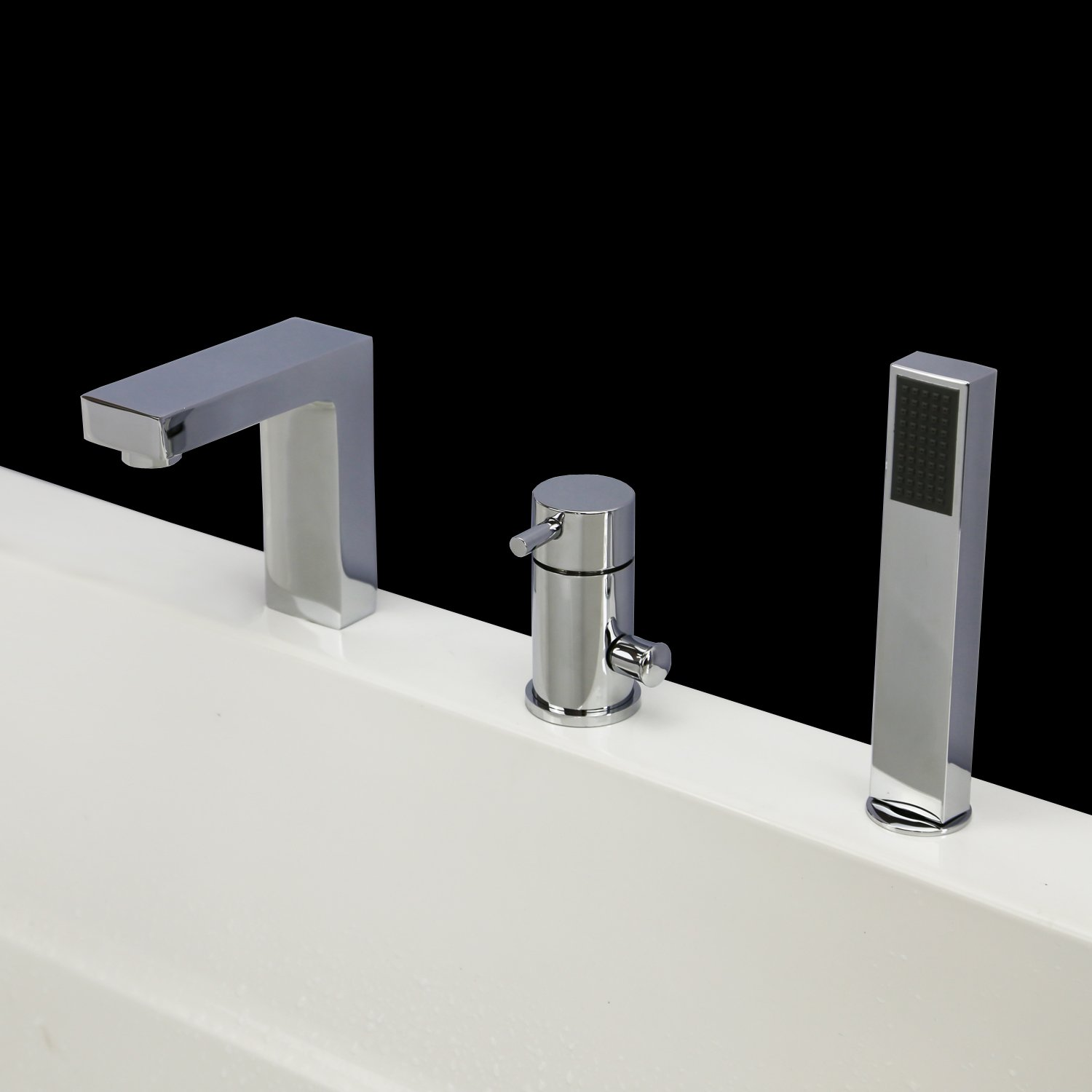 Widespread Bathroom Bathtub Sink Faucet Plunge Bath Faucet Roman ...
