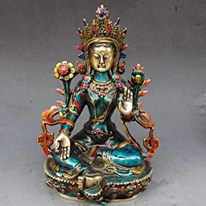 MOINH Statues and Figurines for Home Decor Buddha Statue Brass Buddhist Statue of Buddha Green Tara Statue Home Office Desk Ornament New