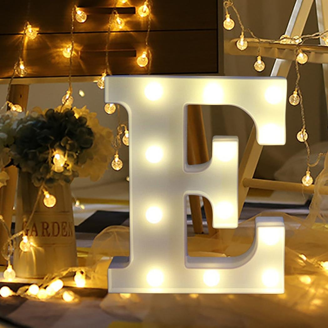 LED Light Up Alphabet Letter Lights White Plastic Letters Standing Hanging Sign