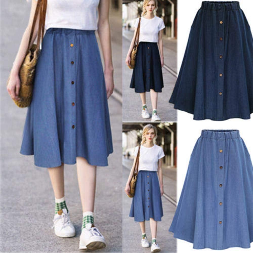 Qianlai Denim Skirts Pleated Knee Length Jeans Skirt Women Loose Skirts