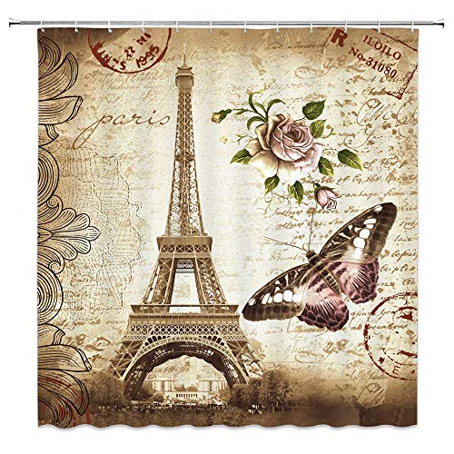 AMNYSF Vintage Paris Eiffel Tower Shower Curtain Retro Flower Butterfly Rose Floral Stamp Romance City Scenery Decor Fabric Bathroom Curtains,Waterproof Polyester With Hooks 70x70 -