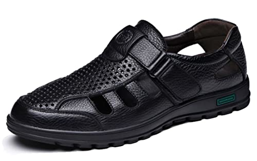 ff23caa880c3 respeedime Summer Men s Leather Sandals Middle-Aged Hollow Daddy Cool  Breathable Hole Shoes Black 5UK