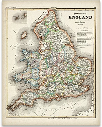 1844 England Map Art Print - 11x14 Unframed Art Print - Great Vintage Home Decor by Personalized Signs by Lone Star Art