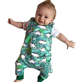 2018 Newborn Baby Kids Boys Girls Infant DINOSAURS Jumpsuit Bodysuit Outfit Set