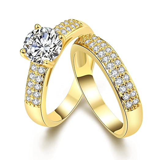 YAZILIND Elegant Jewelry Shiny Wave Shape White Cubic Zirconia Gold Plated Rings for Women the Couple swHn3e