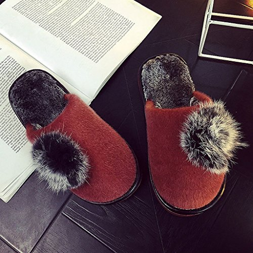 [Women's cotton slippers winter warm home thick bottom indoor hairy slippers ( Color : Brown , Size : EUR:37-38 )] (Brown Hairy Feet)