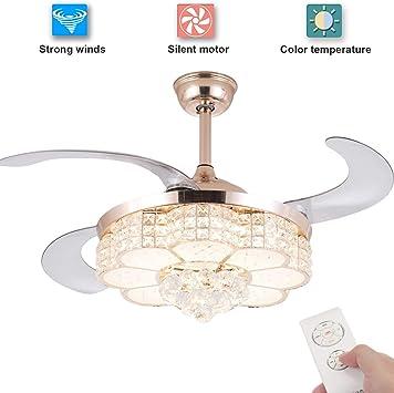 Ventilador de techo de cristal retráctil con luz de control remoto ...