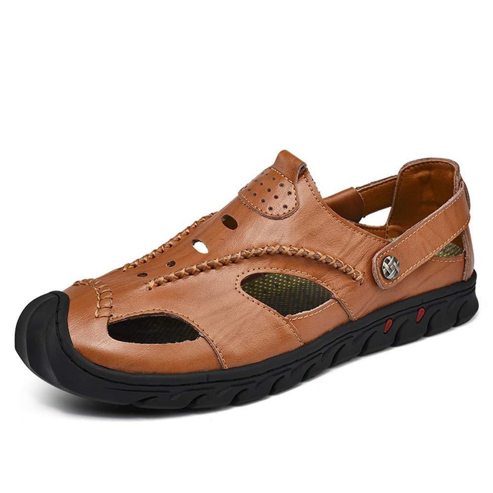 Ywqwdae Männer Closed Toe Echtem Leder Sandalen Schuhe Weiche Sohle Atmungsaktive Rutschfeste Schuhe Sandalen (Farbe : Braun, Größe : EU 46) Braun 70cadf