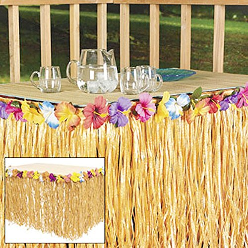 2 Hawaiian LUAU PARTY Tan Grass Table Skirt Hibiscus Flower Lot Beach Decor (Skirt Table Flowered)