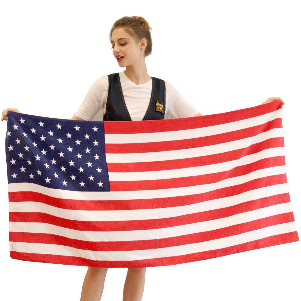 American Flag Beach Towel 100% Cotton Soft Bath Blanket 28x55inch