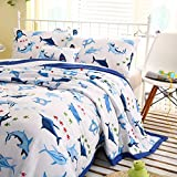 The Blue Shark Printed 4-pieces Comforter Set Twin for Kids Bedroom, 100% Cotton, Comforter + Flat Sheet + Fitted sheet + Pillowcase ...