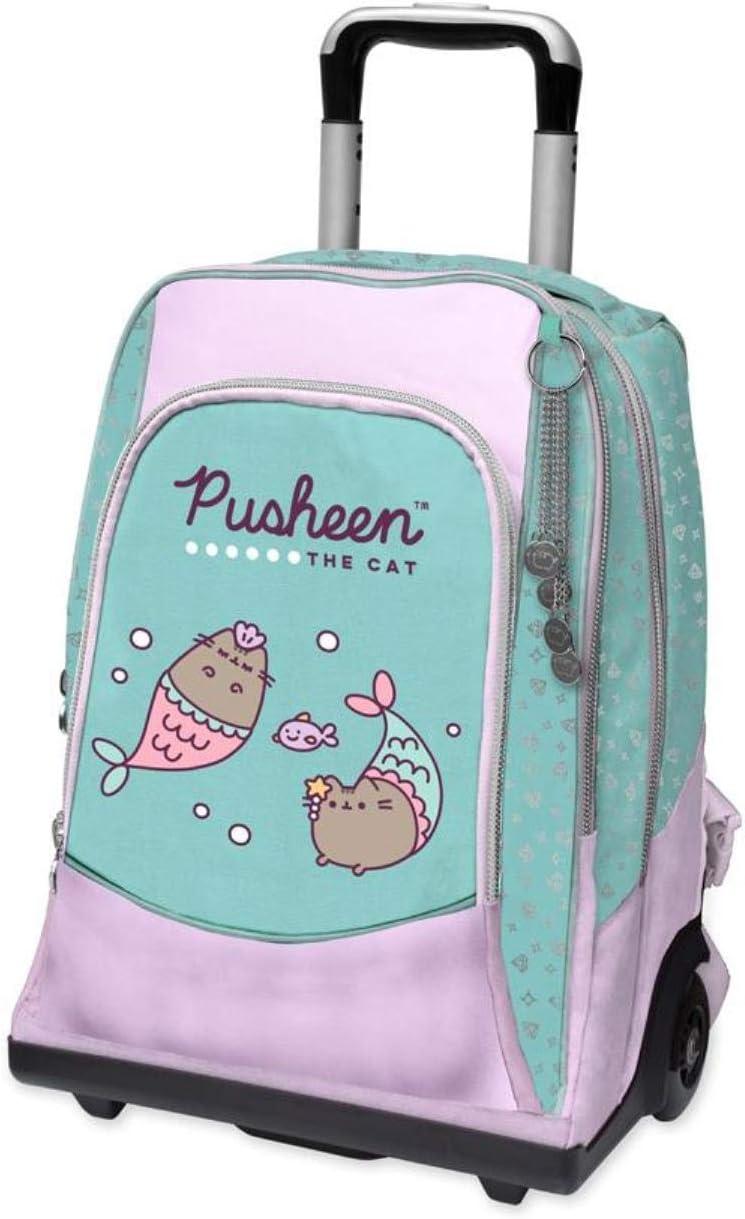Mochila escolar con ruedas Pusheen The Gat + Estuche con cremallera + Diario de bolsillo + Llavero con brillantina + 10 bolígrafos de purpurina: Amazon.es: Equipaje