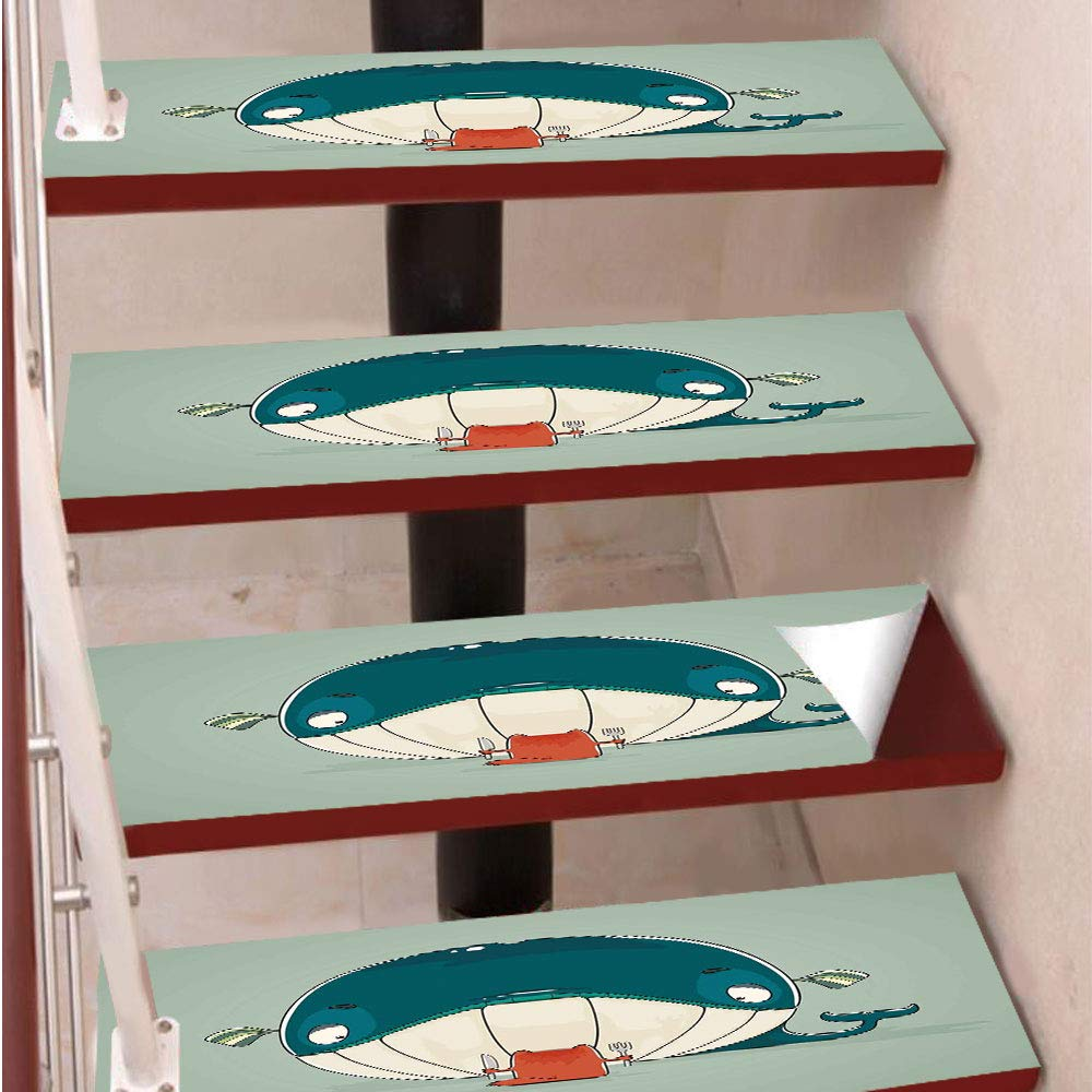 3D Print Non-Slip PVC Stair Pads,Self-Adhesive Steps Sticker,Staircase Treads Protector,Greedy Little Cat Sitting down to Dine on A Huge Fish Dinner of Whale Cartoon,for Home Decoration(9.8X39 inch) S