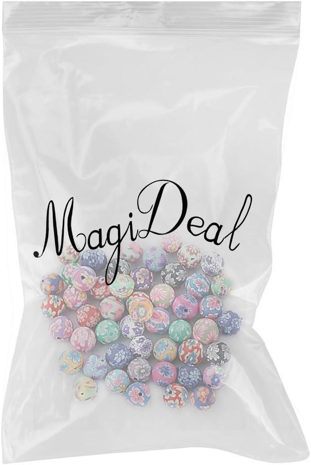 MagiDeal 50stk Perlen Kugel Blumen Perlen Beads Polymer Clay Beads 10mm