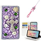 EVTECH LG Aristo 2 Case,LG Tribute Dynasty Case with Lanyard Neck Strap [Stand Feature] Butterfly Wallet Case [Bling Luxury] Leather Flip Cover [Card Slots] For LG Aristo 2 X 210/LV3/K8 2018