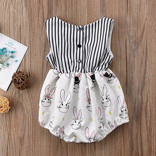 cb45d61d9 Zarupeng-Bebé Romper    Bebés Infantiles Niñas Conejo de Pascua Imprimir  Mameluco