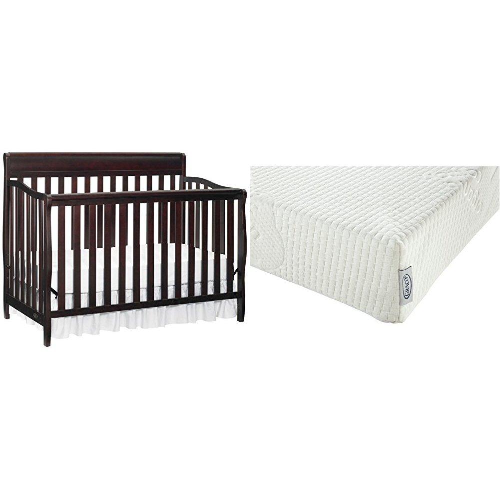 Graco Stanton Convertible Crib + Graco Premium Foam Crib and Toddler Bed Mattress, Espresso CANHW