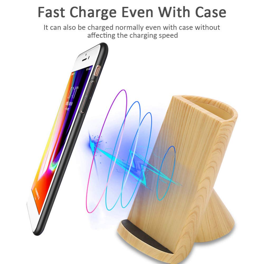 Qi Wireless Fast Charger, Wood Grain Pen Holder Fast Charger 10w Fast Charging for Samsung Galaxy S10/10 Plus/10e/S9/S9+/S8/S8+ and Standard Charge for iPhone XR/Max/X/8/8 Plus and All Other Qi by NSCHJZ