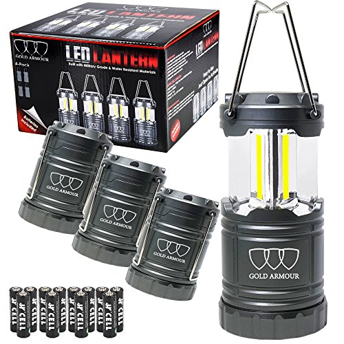 Brightest LED Lantern - Camping Lantern (UPGRADED EMITS 500 LUMENS!) - 4Pack Camping Gear Camp Equipment Camp Light for Camping, Emergencies, Great Gift Set (Gray)